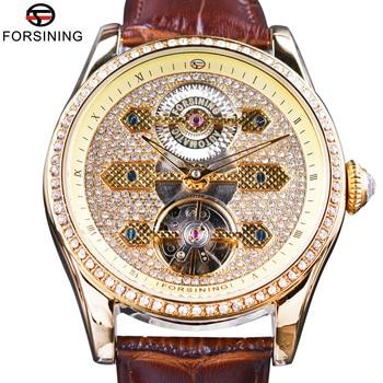 Forsining 2017 Fashion Diamond Tourbillion Display Brown Genuine Leather Water Resist Men Watch Top Brand Luxury Automatic Watch
