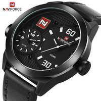New NAVIFORCE Top Brand Mens Dual Quartz Sports Watches Fashion Men Wrist Watch Leather Strap Waterproof Clock Relogio Masculino