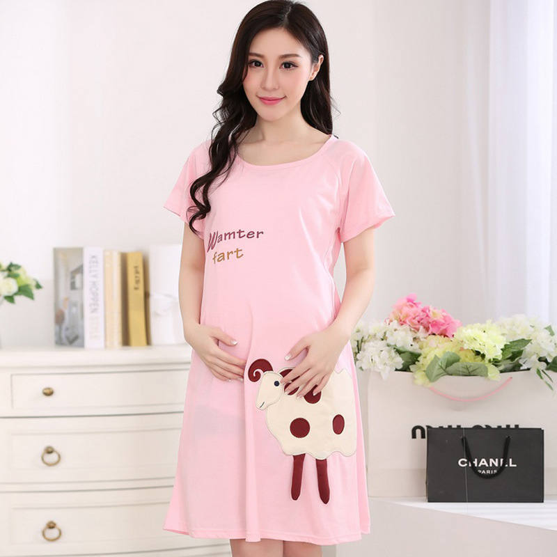 2017 Summer Cute Nursing Sleepwear Womens Maternity Clothes Pajamas Pregnant Clothing Free Size