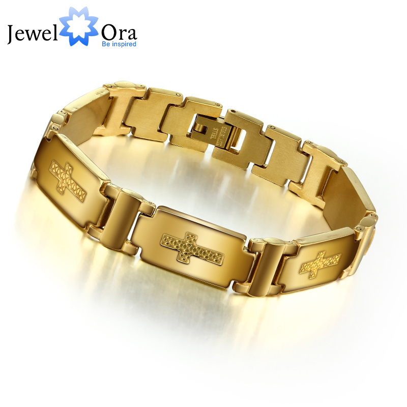 Prix pour Mode Croix Accessoiriser Homme Bracelet 304L En Acier Inoxydable Avec Or Couleur Bracelet Pour Hommes (JewelOra BA101127)