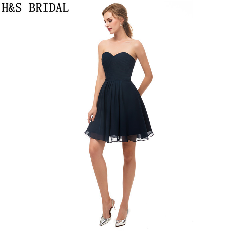 H&SBRIDAL Navy Blue   Cocktail     Dresses   Sweetheart Mini   Cocktail     dress   robe de   cocktail   Chiffon Pleated Short robe   cocktail