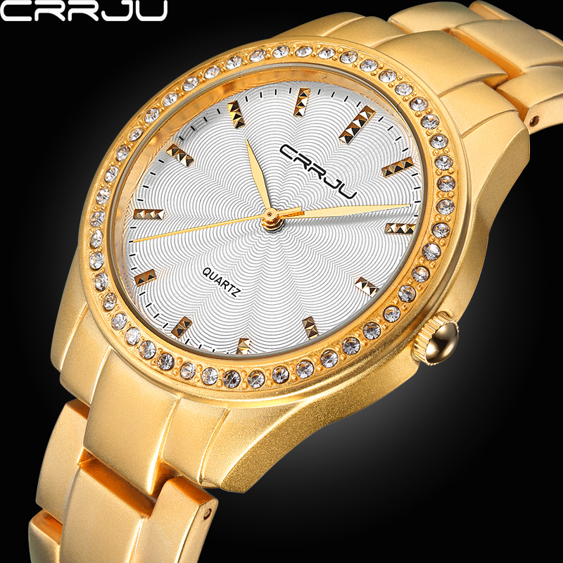 Top Branded CRRJU High Quality Analog  Dress Watches Women Rhinestone Fashion Clock Stainless Steel Watch Ladies Gift Gold Silve 2016 new high quality women dress watch crrju luxury brand stainless steel watches fashion wrist gift watch men wristwatches