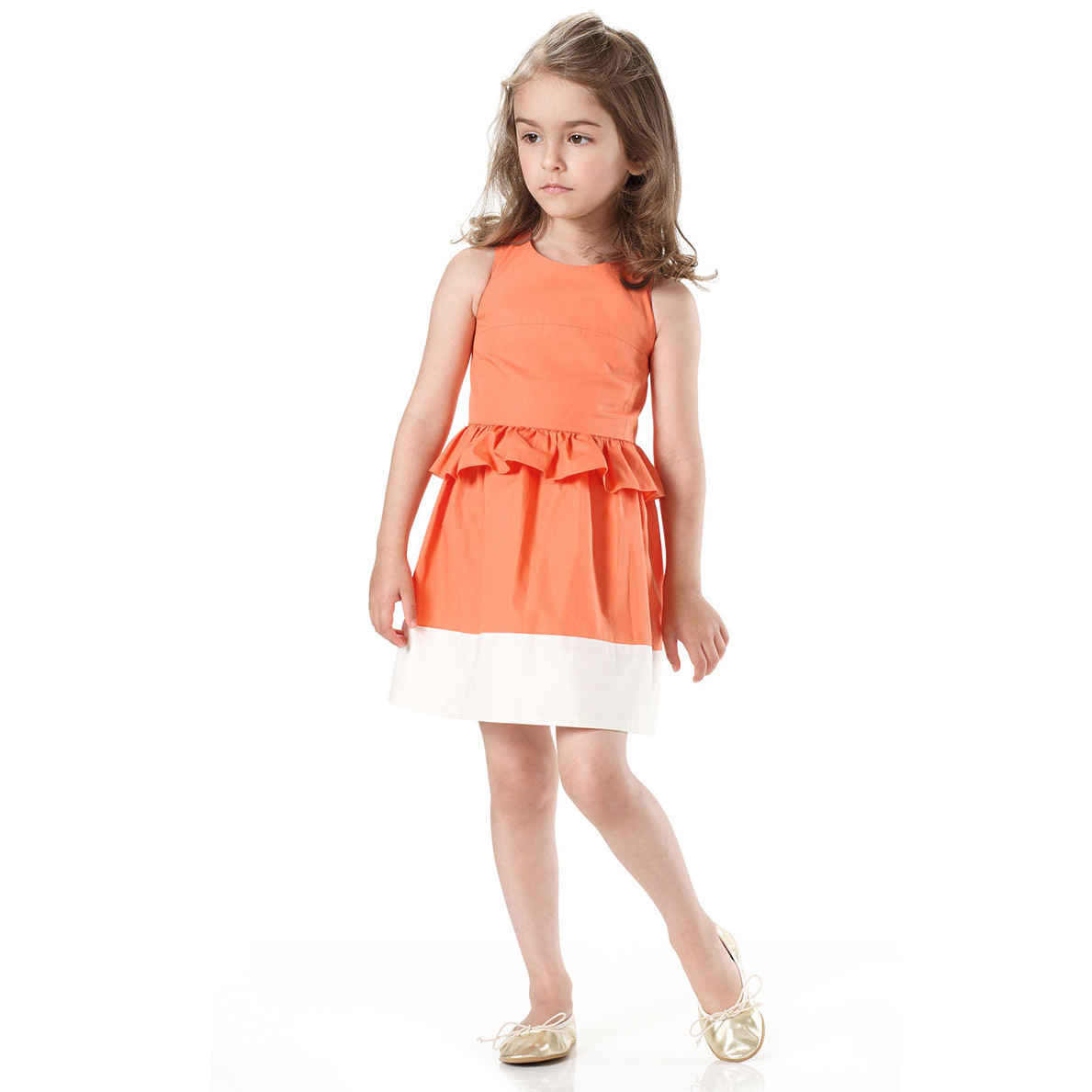 d6b9b6164423 Summer Girls Sleeveless Princess Orange Sundress Kids Fashion Lotus Leaf  Waist Party Prom Child Dress For Children Clothing