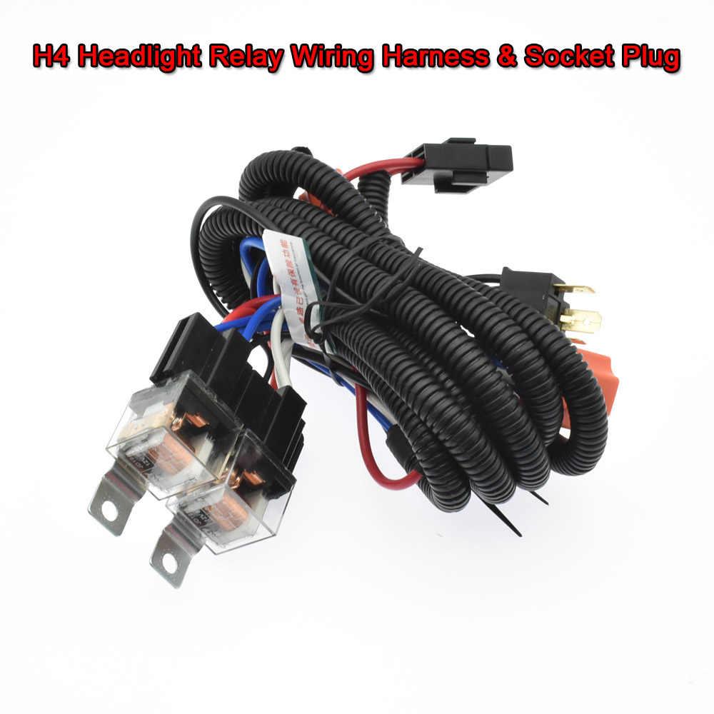 12V/24V 7'' H4 Headlight 2 Headlamp Relay Wiring Harness Car Light Bulb  Socket Plug For Car Auto Headlight Wire  - AliExpressAliExpress