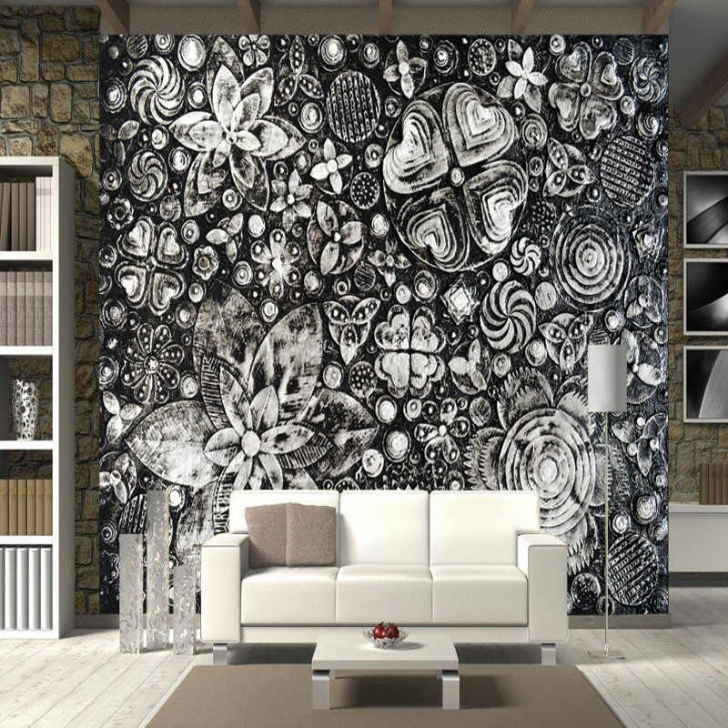 Custom mural custom 3D hand painted Black flowers wallpaper living ...