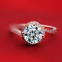 2 карат 4 зубцами 925 стерлингового серебра розовое золото синтетический SONA NSCD Алмаз Любовь обручальные кольца, браслеты