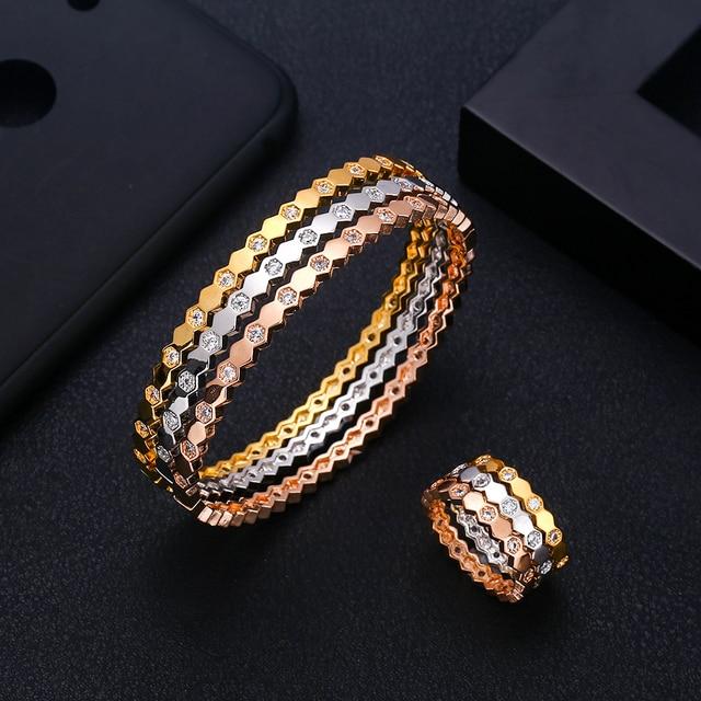 Jankelly יוקרה דבורה צורת צמיד טבעת סטי אופנה דובאי כסף כלה נשים חתונה brincos para כmulheres