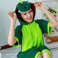 Summer Cartoon Cute Animal Pajamas Cotton Short Sleeved Couple Cosplay Green Dinosaur Pajamas for Men And Women Wholesale