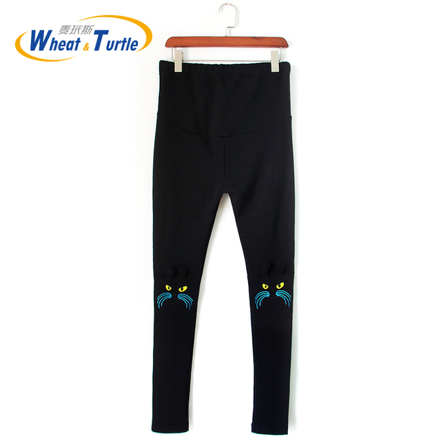 Fashion Women's Warm Maternity Pants/Leggings/Trousers for Pregnant Women Knee Embroidered Cat Autumn/Winter Pregnancy Clothes