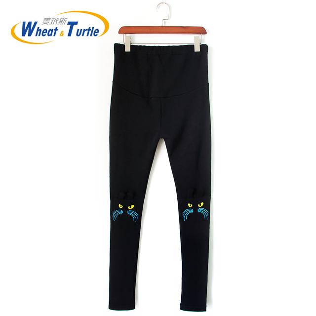 Moda Quente das Mulheres Calças de Maternidade/Leggings/Calças para Mulheres Grávidas Na Altura Do Joelho Bordado Gato Outono/Inverno Gravidez roupas