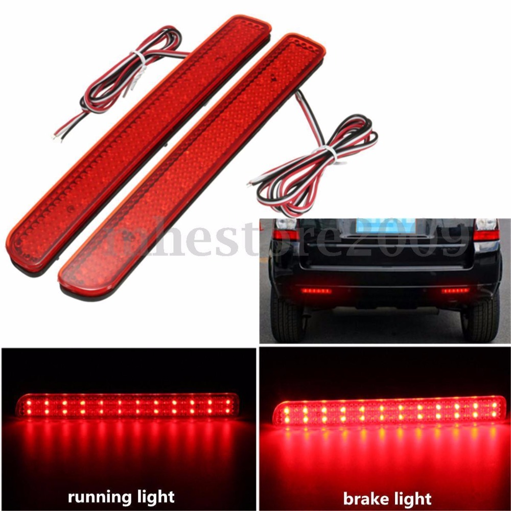 CYAN SOIL BAY 2X 24LED Rear Bumper Reflector Brake Running Light For Land Rover Discovery 3 LR3 05-09 4 LR4 10-13 L320 Facelift