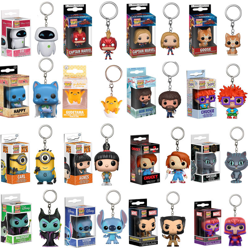FUNKO POP Hot keychain Avengers 4: Endgame Captain Marvel Venom Stitch Goku Action Figures Toys for Children Christmas Gift