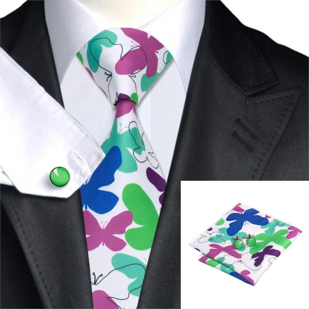 C-1291 Marke Krawatte Gravatas Drucken Binden Sets 2017 Mode Herren Krawatten Taschentuch Manschettenknöpfe 8,5 Cm Seidenkrawatten Für Männer Hochzeit Anzüge