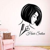 Salon Sticker Woman Barber Hair Beauty Spa Decal Haircut Posters Vinyl Wall Art Decals Decor Decoration Mural Salon Sticker