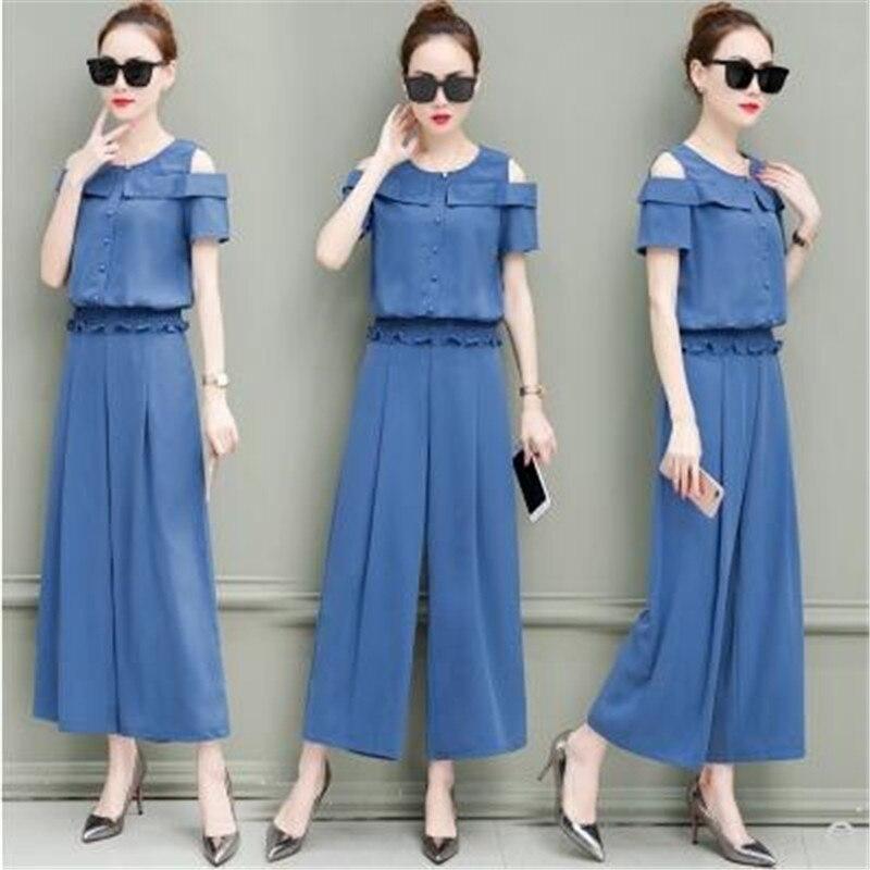 Taille Plus Blue Ensembles Femmes Set Navy Haute Qualité Et Pantalon Costume De Vêtements Deux blue Pièces khaki La Casual Top D'été Corée Nouveaux xqw6zRUPW