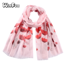 Winfox White Pink Floral Printed Scarf Female Muslim Hijab Scaves Stole For Women Ladies pink random floral printed jacket