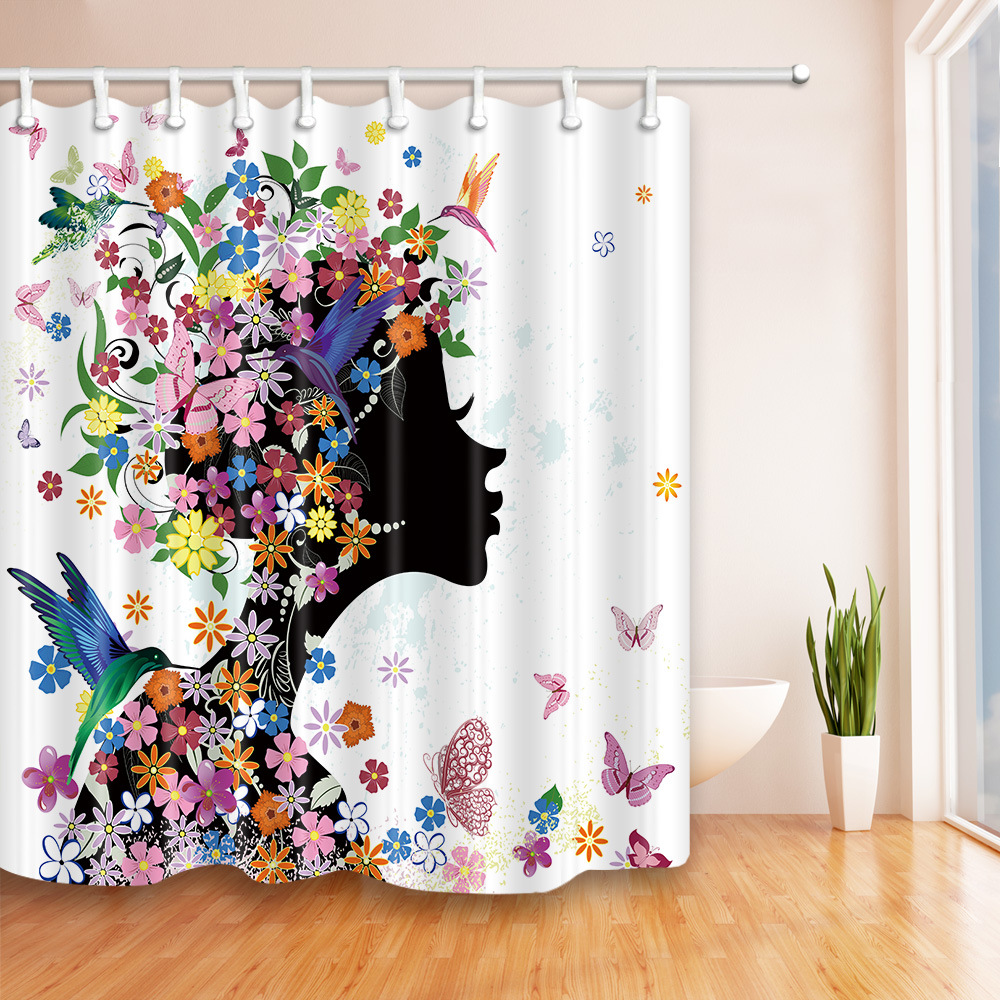 Printing Flower Girl Polyester Shower Curtain Waterproof Bathroom Curtain with Hooks Home Decor Bathroom Accessory 1PC