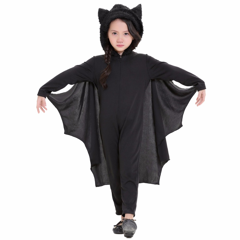 Unisex Halloween Children Cosplay Costumes Children Girl Boy Bat Wings Suit Set Black Cloak Halloween Masquerade Party Dress