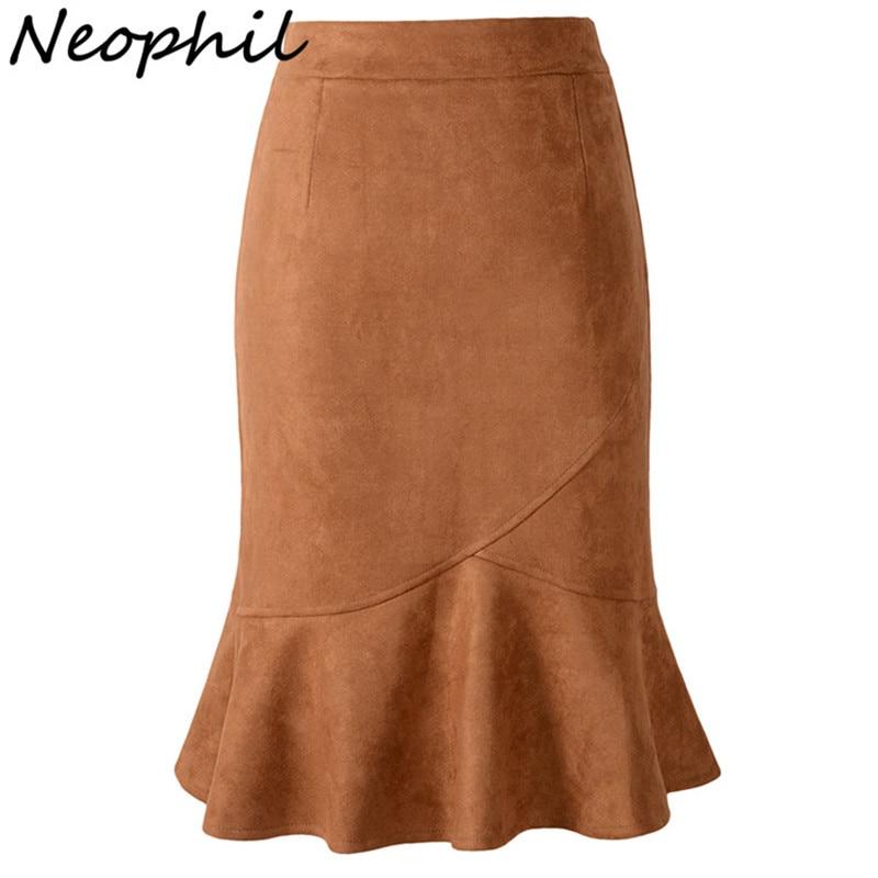 Neophil Womens Pink Mermaid Suede Pencil Knee Length
