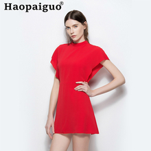 S-XL Red Mini Dress Club Wear for Ladies Short Sleeve Black Chiffon Women Butterfly Casual Summer