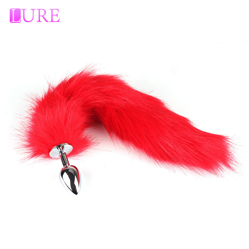 Lure Red  White Fox Tail Anal Plug Role Playing Toys Sex -8579