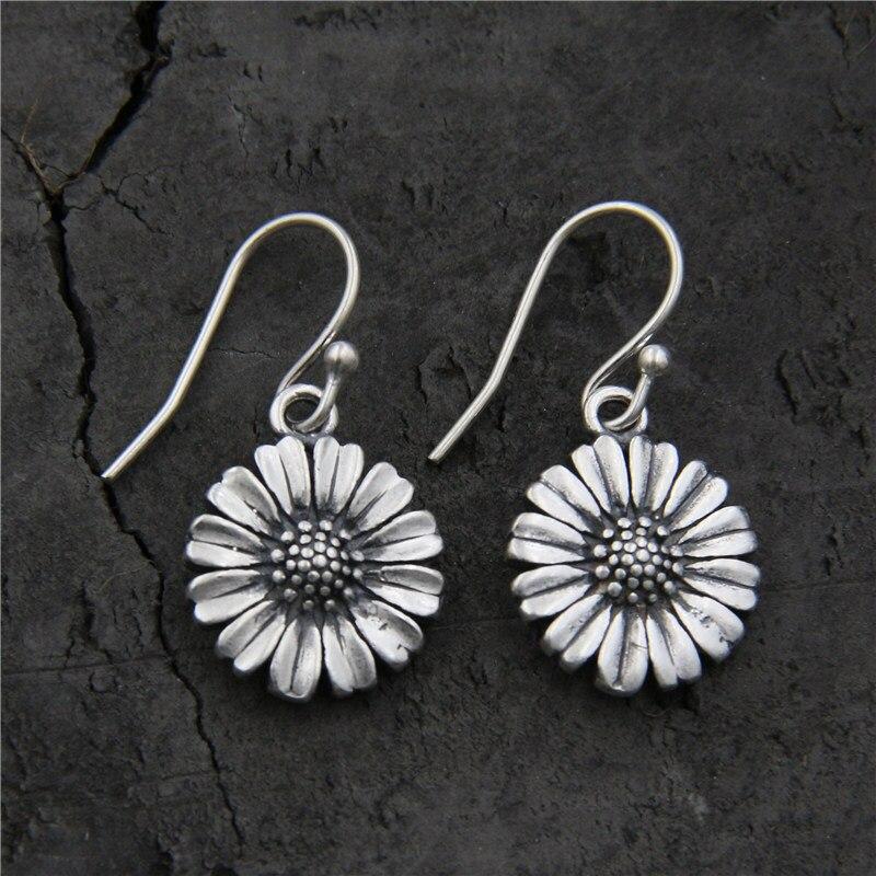Real Pure 925 Sterling Silver Drop Daisy Earrings For Women Cute Little Flower Earrings With Hook Hot Sale faux crystal flower hook earrings