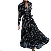 Bellflower Autumn Boho Dress Vestidos 2018 Holiday Elegant Women's Dress Wave Point Long Sleeved Maxi Dress V Collar Loose Dress
