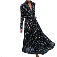 Bellflower Autumn Boho Dress Vestidos 2018 Holiday Elegant Women's Dress Wave Point Long Sleeved Maxi Dress V Collar Loose Dress