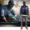 Watch Dogs 2 Marcus Cosplay Jacket &Bag Casual Men's Winter Coat Blue Sweatershirt&Bags and Christmas Mask Cap Bag Badge
