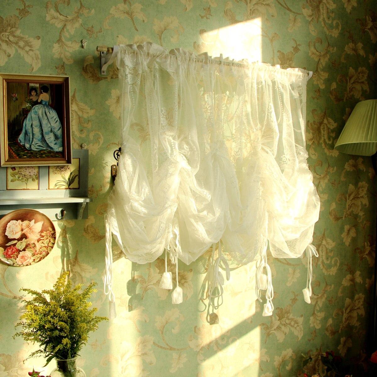 Américain pastorale dentelle pure rideaux fenêtre décoration Tulle pour salon corde porte rideau romantique Gardinen
