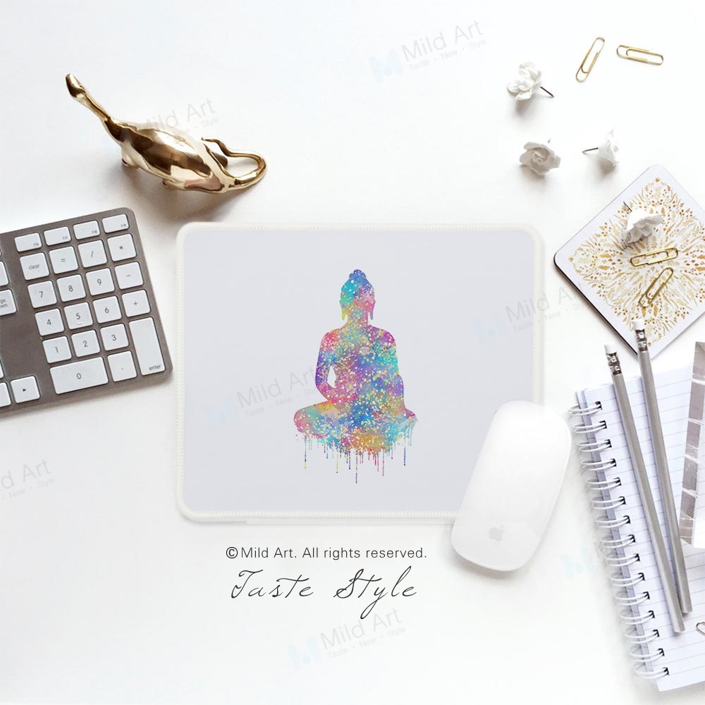 Nordic Watercolor Buddha Figure Lotus Flower Colorful Prints Personalized Girl Gifts PC Gamer Gaming Computer Mouse Pad Mat Set