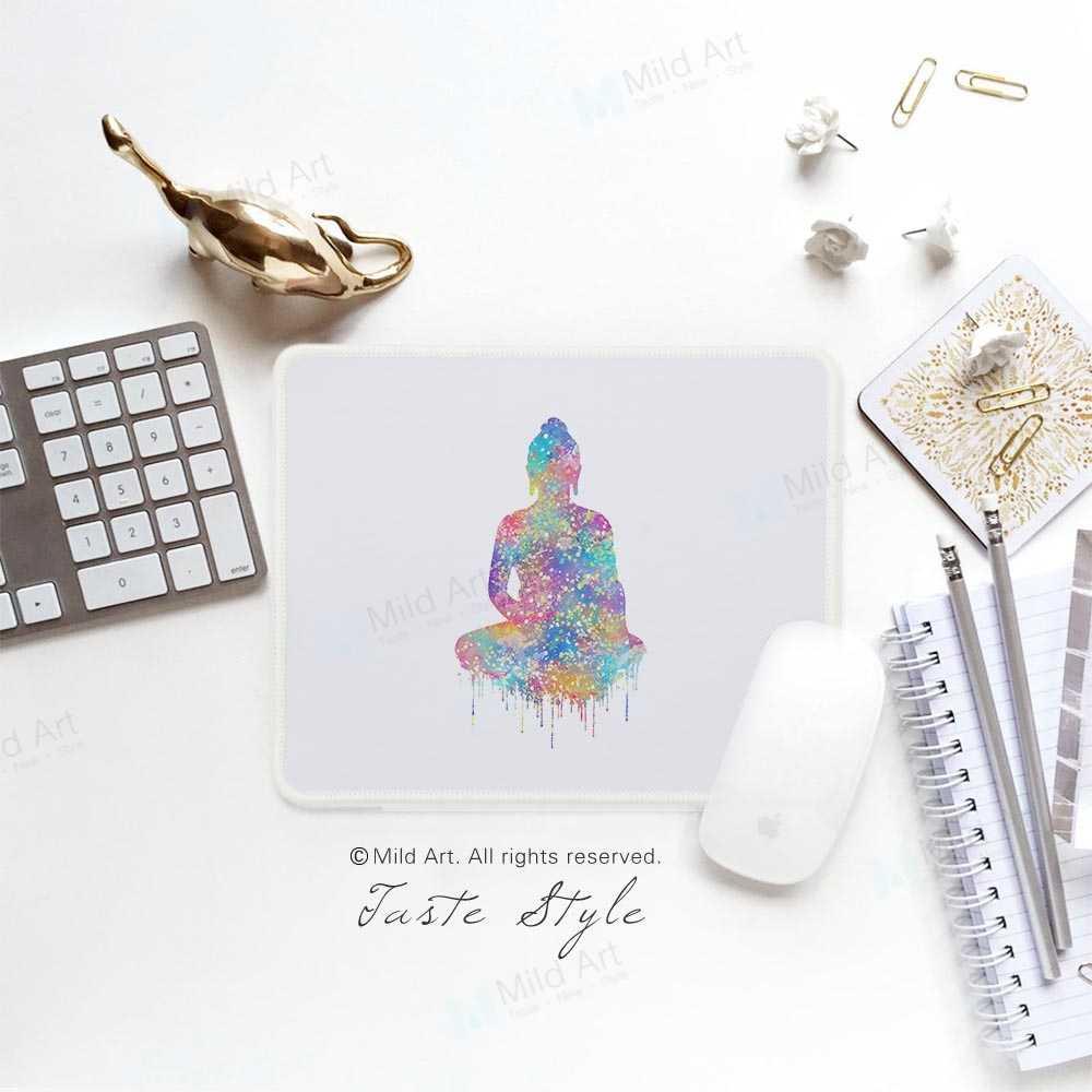 Nordic Watercolor Buddha Gambar Lotus Bunga Berwarna-warni Cetakan Pribadi Gadis Hadiah PC Gamer Game Komputer Mouse Pad Mat Set