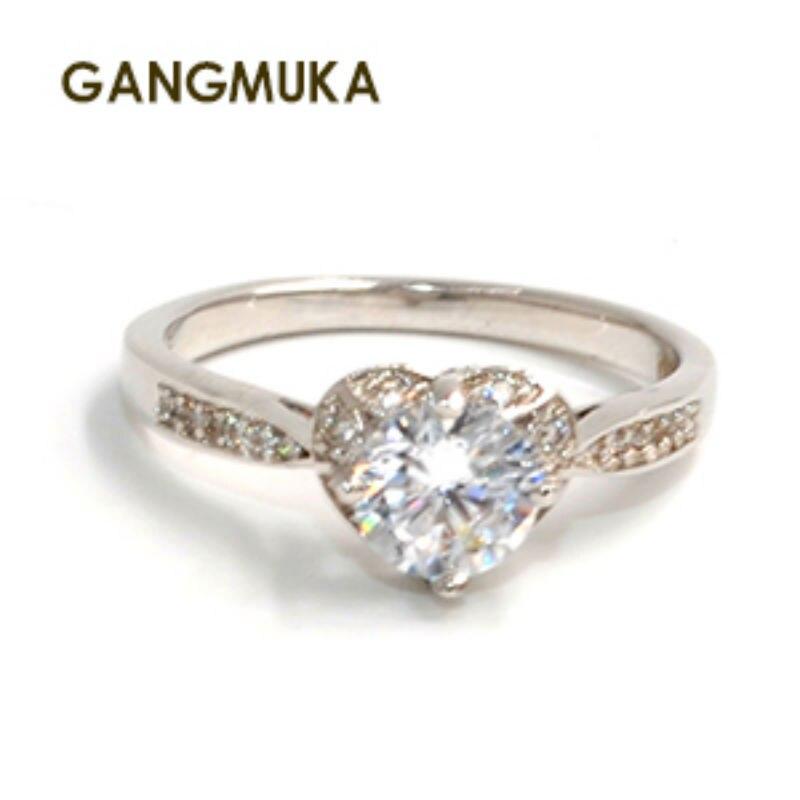 צורת לב לבן בהיר אבני AAA CZ כסף סטרלינג 925 מדהים חתונת נשים טבעת מתנות גודל 5-10