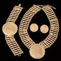 Grande Moeda de Ouro Dubai Conjuntos de Jóias Traje Africano de Alta Qualidade Banhado A ouro Conjuntos de Jóias Grande Pingente Para As Mulheres Do Partido Do Vintage estilo