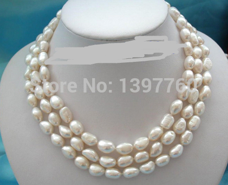 Miss charm Jew.64 stunning 3rows 13mm baroque white freshwater pearls necklace