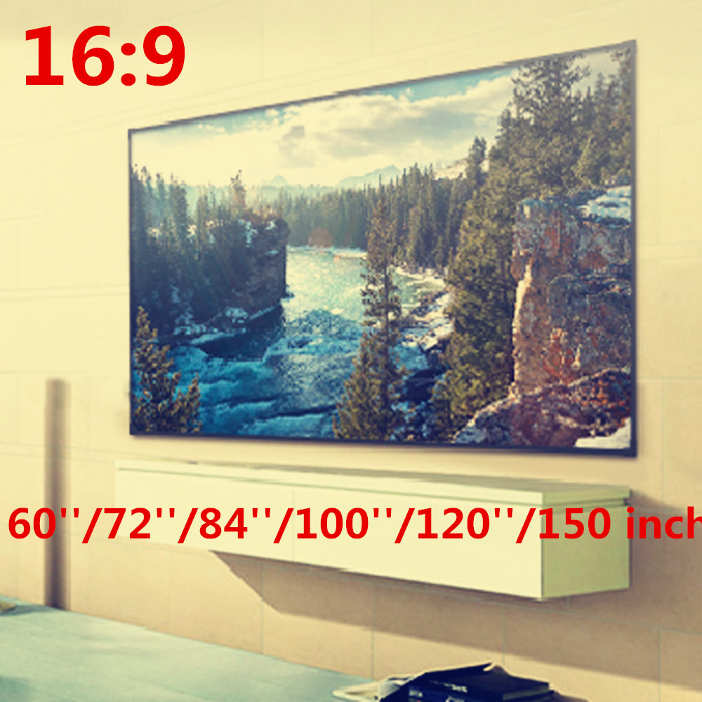 Foldable 16:9 Projector 60 72 84 100 120 150 inch White Projection Screen For HD Projector Home Theater Cinema Movies Party