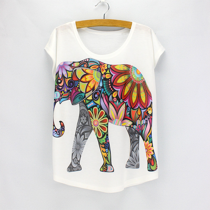 New fashion Flower Elephant printed t shirts women summer dresses 2017 novelty design casual top tees for girls