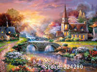 Needlework,Dusk Forest House Scenery Handwork 14CT Counted Embroidery,DIY DMC Cross stitch kits,Art Cross-Stitching Home Decor