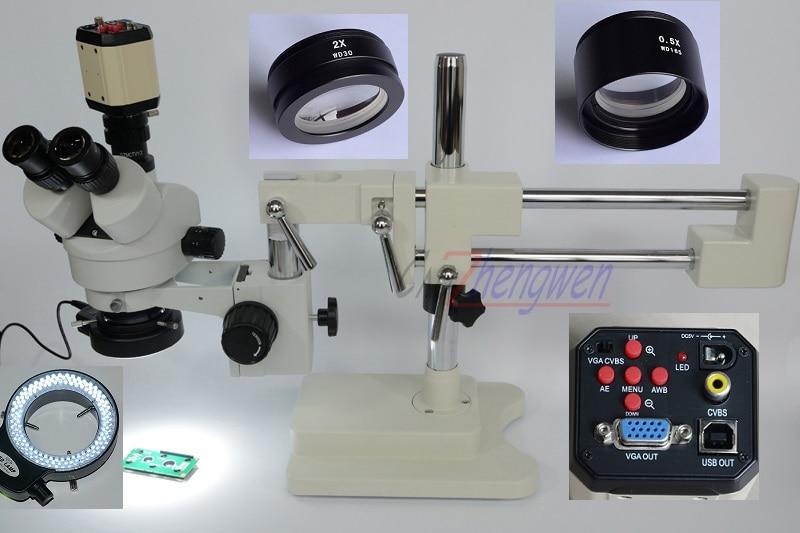 Fyscope 3.5X 90X! Двухместный Boom Stand Stereo Увеличить тринокулярный микроскоп + 2MP HD VGA камера + 144 шт. LED микроскоп
