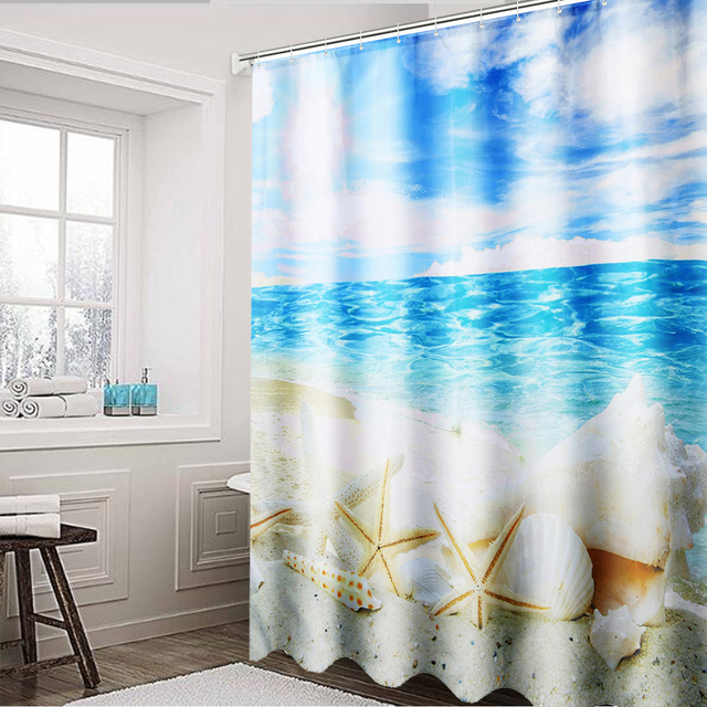 Bathroom 180x180cm Sunshine Beach Shower Curtain Seashell Polyester Waterproof Fabric Ocean Washable Home Decor