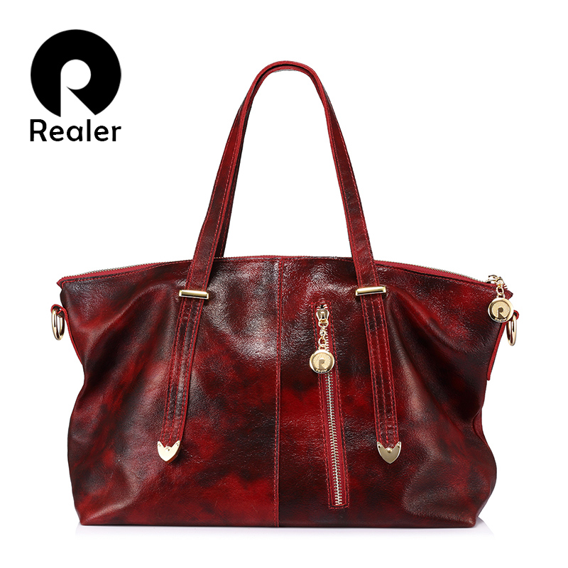 REALER brand women's bags genuine leather tote bag female large shoulder messenger bag ladies handbag top-handle Red/Black/Brown
