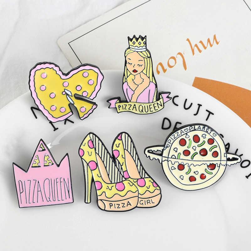 Pizza Queen Corona di Alta tacchi Pianeta Dello Smalto Del Cuore Spilli Cibo Pizza Unito Spille Distintivi e Simboli Borsa Camicia Risvolto Spille Pizza Amante gioielli