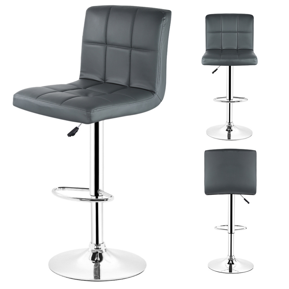 DOORSACCERY 2PCS/Set Grey PU Leather Swivel Bar Stools Chairs Height Adjustable Counter Pub Chair Barstools Modern Style european fashion simple lift bar stool high chairs reception swivel stools counter