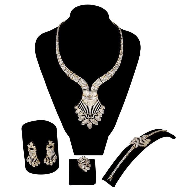 New luxury Women wedding Jewelry Sets setting white cz 4pcs sets ( necklace + bracelet + earrings + ring) free drop shippingNew luxury Women wedding Jewelry Sets setting white cz 4pcs sets ( necklace + bracelet + earrings + ring) free drop shipping