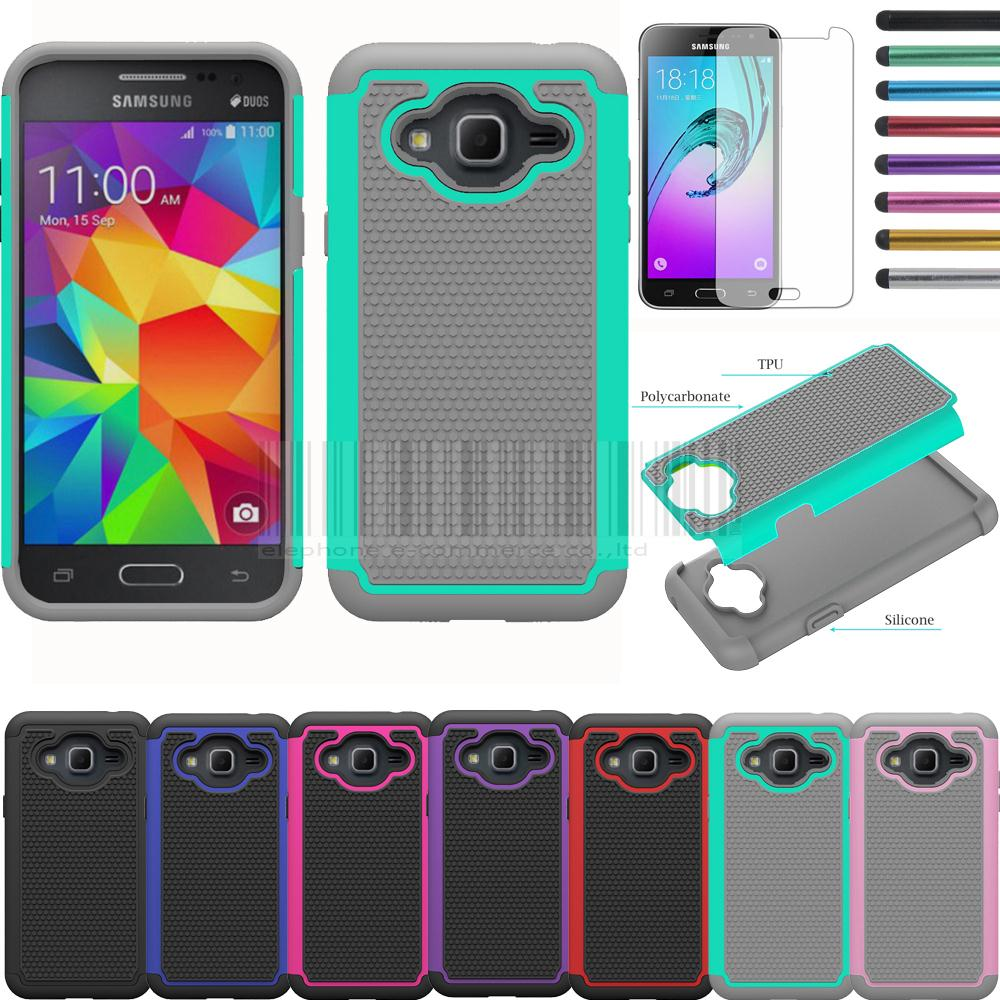 Mix Color Heavy Duty Armor Silicone Hard Case Cover With Films+Stylus For Cricket Samsung Galaxy