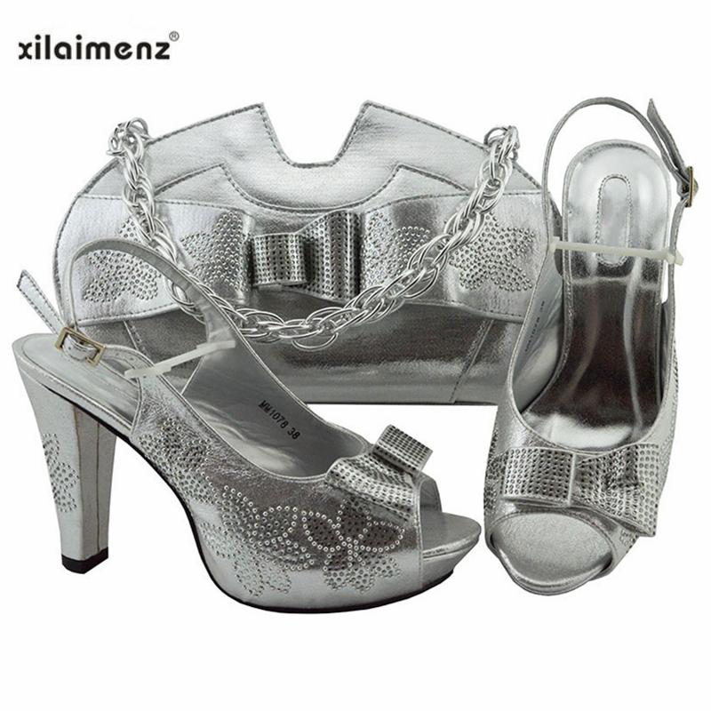 Wedding Dress Elegant Silver Color Shoes And Bag To Match