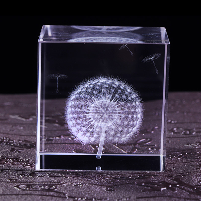 6cm Crystal Πικραλίδα Cube Crafts 3D Laser - Διακόσμηση σπιτιού - Φωτογραφία 4