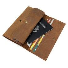 Бумажник для карт из воловьей кожи, большой емкости, мужской бумажник из натуральной кожи