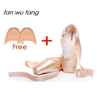 Fan Wu Fang 2017 New Pink Canvas Satin Adult Ballet Pointe Dance Toe Shoes Ladies Professional
