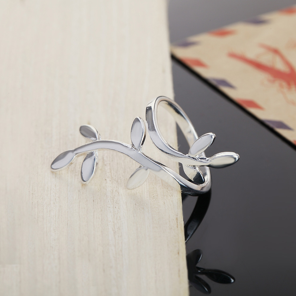 KITEAL 2018 New silver ring 925 stamp Flower tree of life Leaf Ring exaggerated Open Unisex Engagement wedding gift